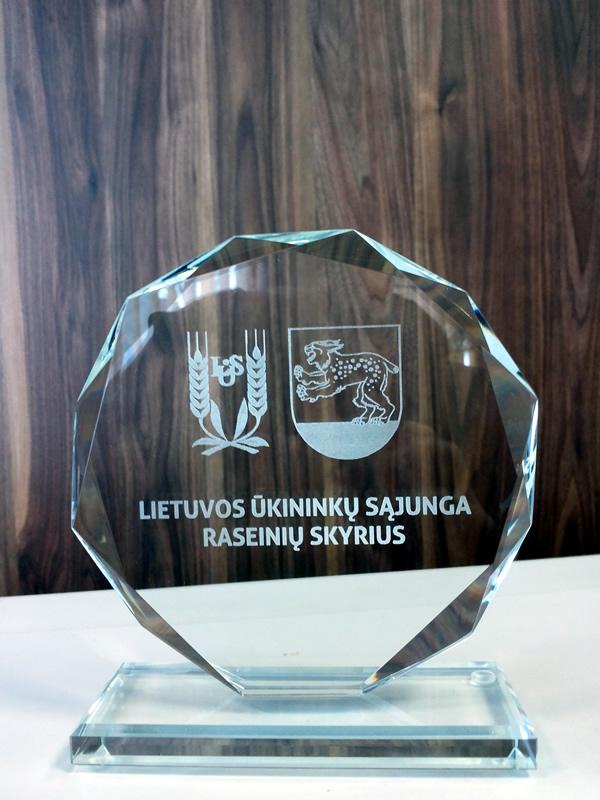 Stiklinis apdovanojimas - suvenyras