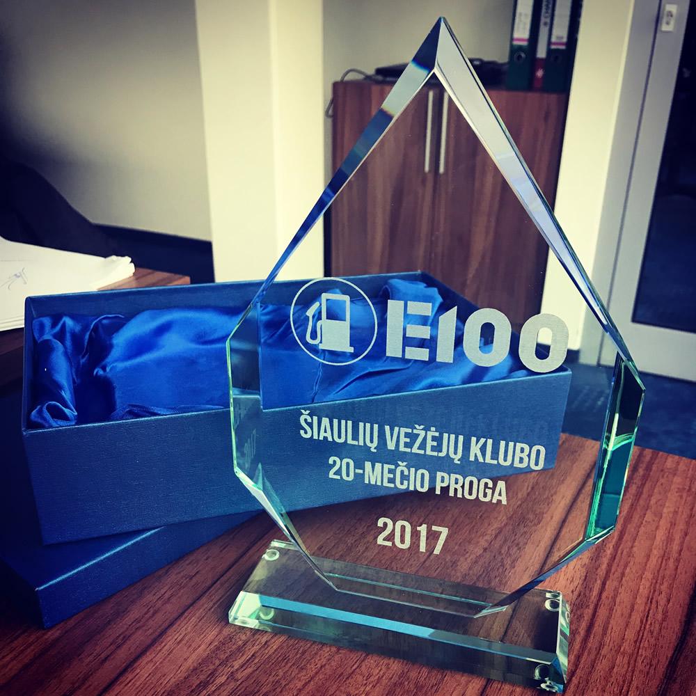 Stiklinis apdovanojimas - Padėka